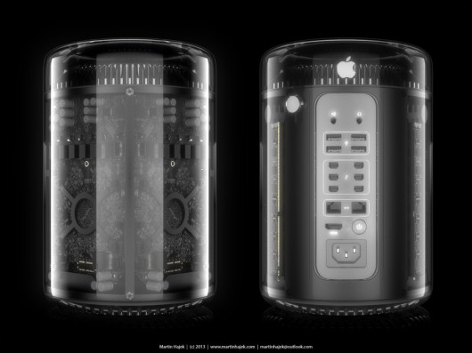 2013 Apple Mac Pro with transparent glass case